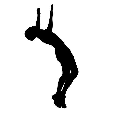 Man performs a jump with a flip silhouette Ilustracja