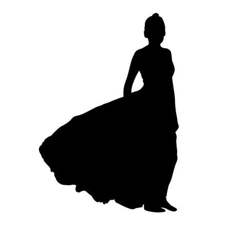 Graceful and elegant silhouette of a young woman in a long dress in the wind