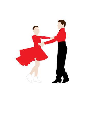 Children couple dancing a waltz colored silhouette Illustration