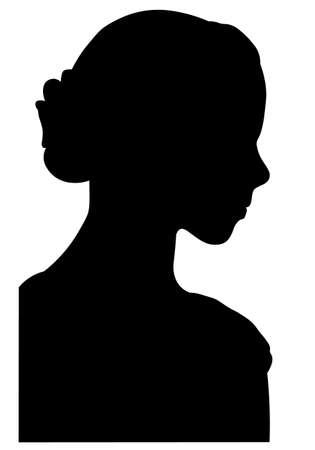 Profile of beatiful little pretty girl silhouette Ilustração