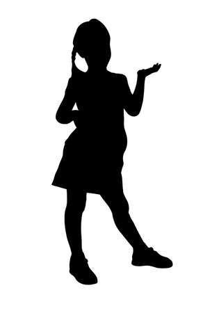 Little girl holds her hand palm up silhouette vector