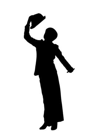Teenage boy in dance motion vector silhouette