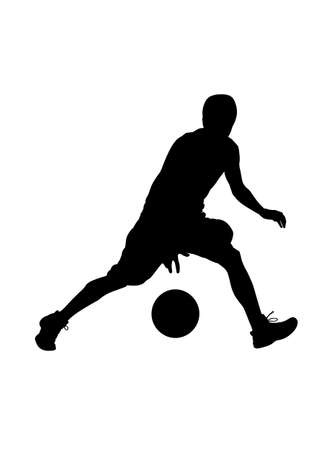 Basketball player dribbles vector silhouette sport Vectores