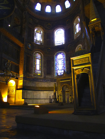 Contemplation. A peaceful look inside Hagia Sophia (Ayasofya) in Istanbul, Turkey.