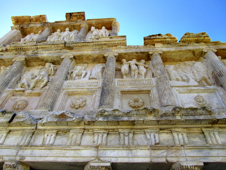 restored: Detail of the restored North end of the Sebasteion Building (U-shaped colonnaded plaza) and its sculptures, Aphrodisias, Turkey
