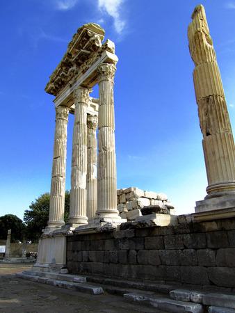necking: Ruins of  Temple of Trajan in the city of Pergamon (Bergama), Turkey. Stock Photo
