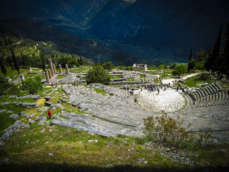 play acting: View of the Theatre, the temple of Apollo and the Athenian Treasury in the ancient city of Delphi, Greece.