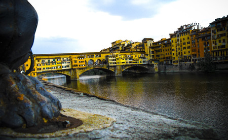florence   italy: View of the Ponte Vecchio and Arno River, Florence, Italy. Stock Photo