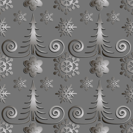 snowstorm: Seamless abstract illustration of nature. Figure 3D, Christmas trees, snowflakes, snowstorm. Color gray metal, lead. Vector EPS10.