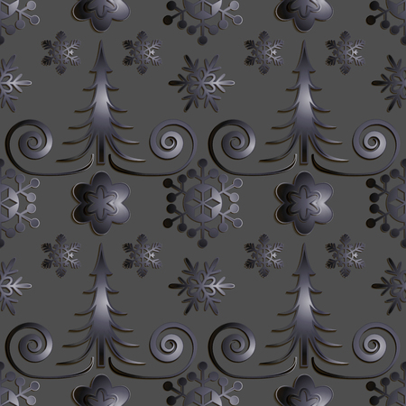 titanium: Seamless abstract illustration of nature. Figure 3D, Christmas trees, snowflakes, snowstorm. Color gray metal, titanium. Vector.