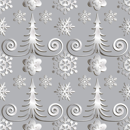 snowstorm: Seamless abstract illustration of nature. Figure 3D, Christmas trees, snowflakes, snowstorm. Color gray metal, silver. Vector. Illustration