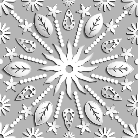 indefinitely: Seamless abstract illustration of nature. Figure 3D, leaves, flowers, sun, circles. Color silver. Vector EPS8. Suitable for creating wallpaper. Figure repeated indefinitely.