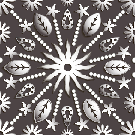 titanium: Seamless abstract illustration of nature. Figure 3D, leaves, flowers, sun, circles. Color titanium. Vector EPS8. Suitable for creating wallpaper. Figure repeated indefinitely.