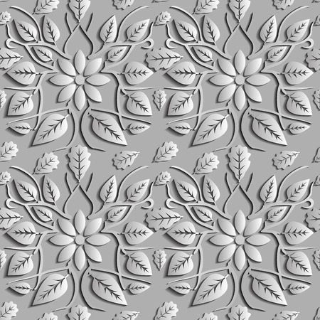 indefinitely: Seamless abstract illustration of nature. Figure 3D, leaves, flowers, branches. Color silver. Vector. Suitable for creating wallpaper. Figure repeated indefinitely.