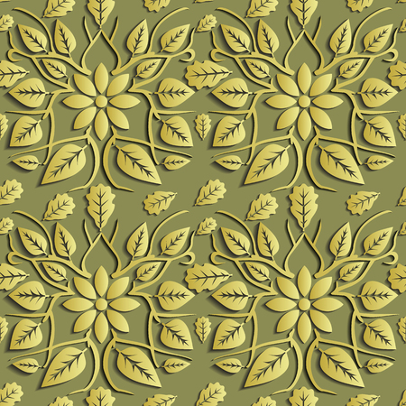 indefinitely: Seamless abstract illustration of nature. Figure 3D, leaves, flowers, branches. Color gold. Vector. Suitable for creating wallpaper. Figure repeated indefinitely. Illustration