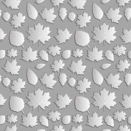 silver maple: Seamless background abstract illustration of nature. Figure 3D, the leaves of maple trees, aspen, oak. Colour silver lighter shade. Vector EPS8. Illustration