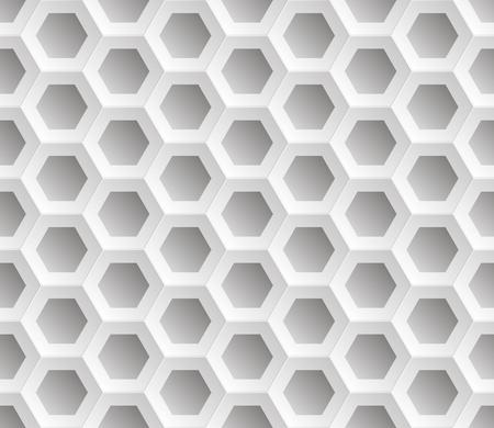 Naadloze abstracte honingraat maas achtergrond - zeshoeken. Kleur wit met schaduwen. Vector illustratie EPS8. Boven het oppervlak verhoogd.