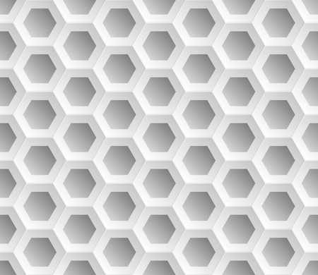 Seamless abstract honeycomb mesh  background - hexagons. Colour white with shadows. Vector illustration EPS8.  Raised above the surface.