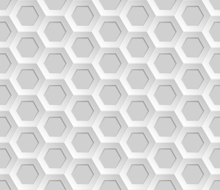 Seamless abstract honeycomb mesh  background - hexagons. Colour white with shadows. Vector illustration EPS8.  Lying on the surface.