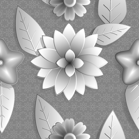 leaden: SSeamless background abstract illustration of nature. Figure 3D, flowers, leaves. Color silver,  leaden hue. Vector EPS10.