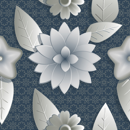 hue: SSeamless background abstract illustration of nature. Figure 3D, flowers, leaves. Color silver,  blue hue. Vector EPS10.