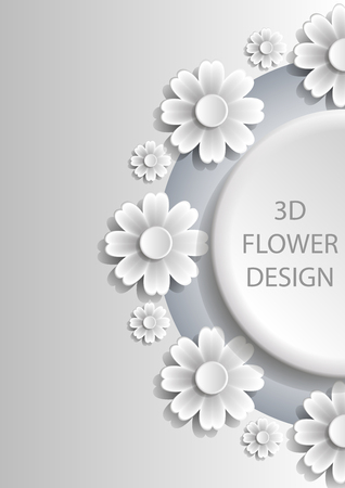 punched: 3D Abstract floral cover design with shadows. Vector EPS10. Illustration