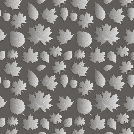 paper punch: Seamless background abstract illustration of nature. Figure 3D, the leaves of maple trees, aspen, oak. Color silver dark tone. Vector EPS8.