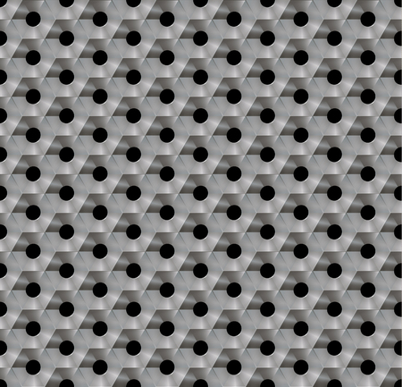 punched: Seamless abstract background metallic honeycomb - hexagons with holes. In each cell, a round hole.  Color- steel.