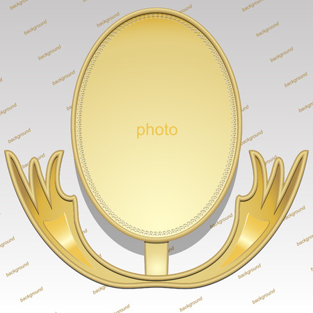 Design elements - 3D gold frame with shadows. Stand for the photos.   Illustration