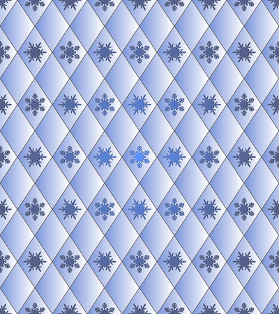 paper punch: Seamless winter background - rhombus with snowflakes. Colour blue.