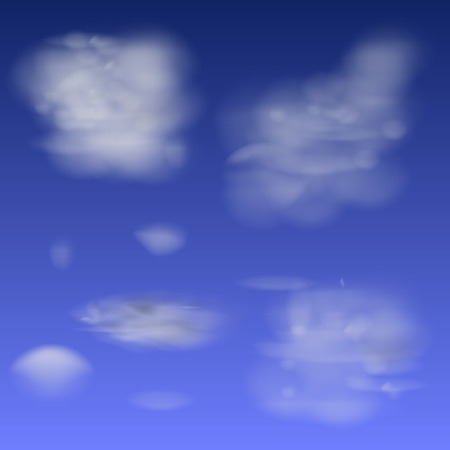 obscure: Design elements - collection of isolated light transparent clouds.