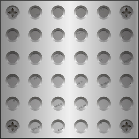 grooves: Design elements - metal plate with holes on the screws. The grooves holes for the screws. Vector EPS10 3D illustrations.