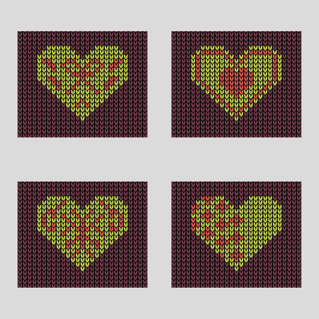 spend the summer: Seamless knitted background - set of  hearts.