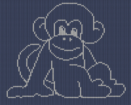 jacquard: Seamless knitted background - monkey. Jacquard pattern. Vector illustration  EPS8. Illustration
