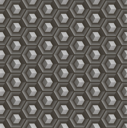 concave: Seamless abstract 3D pattern - cubes in hex concave cells. Illustration