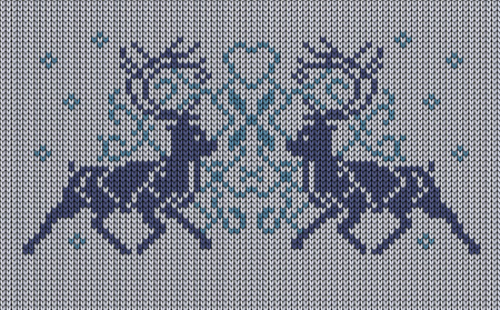 jacquard: Seamless vector knitted background, deers, jacquard pattern