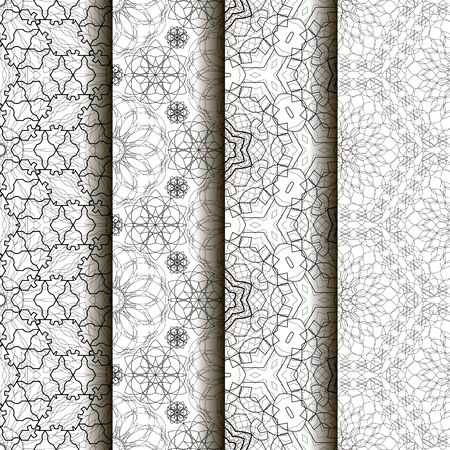 fine lines: 4 different vector seamless patterns. Complicated black and white backgrounds, textures. Ornament of fine lines.  Endless texture can be used for wallpaper, pattern fills, web page background,surface textures.