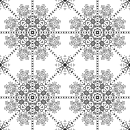 fine lines: Complicated vector seamless black and white background, texture. Ornament of fine lines. Imitation lace, snowflake. For wallpaper, packing.