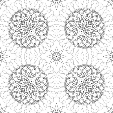 fine lines: Complicated vector seamless black Complicated vector seamless black and white background, texture. Ornament of fine lines. Imitation lace. For wallpaper, packing.