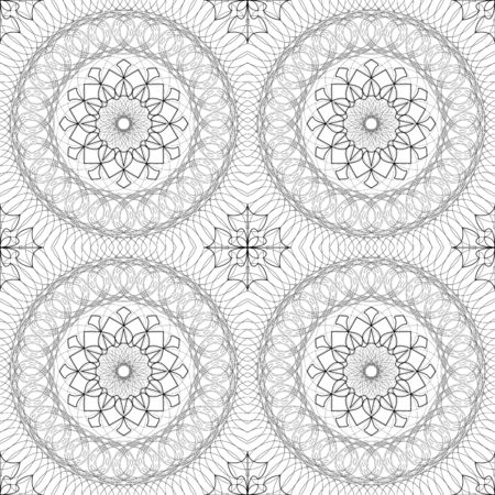 fine lines: Complicated vector seamless black and white background, texture. Ornament of fine lines. Imitation lace. For wallpaper, packing. Illustration