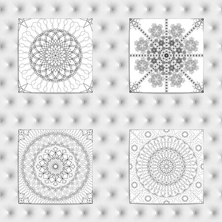 fine lines: Set of 4 Abstract patterns. Black and white seamless vector backgrounds, textures. Ornament of fine lines. Imitation lace. For wallpaper, packing.