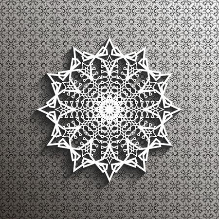 appearance: Paper lace doily, decorative snowflake, mandala, arabic ornament, 3D, vector eps10 Illustration