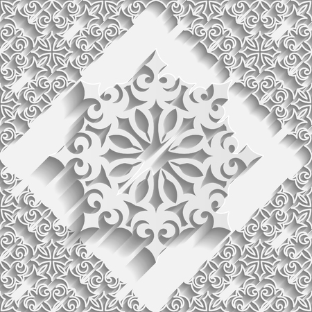 paper punch: Seamless white 3D pattern Illustration