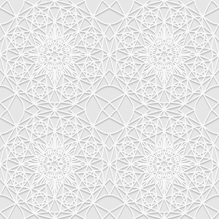east indian: Seamless white 3D pattern, arabic motif, mandala background, east ornament, indian ornament. Endless texture can be used for wallpaper, pattern fills, web page  background,surface textures.