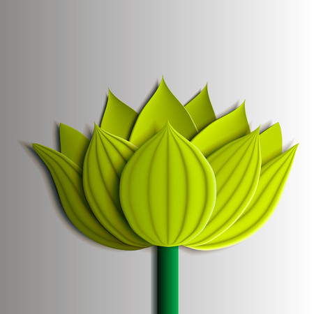 ardboard: Design elements - yellow  lotus flower 3D. Application of paper (cardboard). You can also use as a template for a card. Vector illustrations EPS10.
