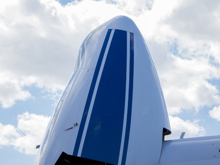 aluminum airplane: Details of the cargo and civilian aircraft. Best transport aircraft in the world.  The nose of the aircraft.