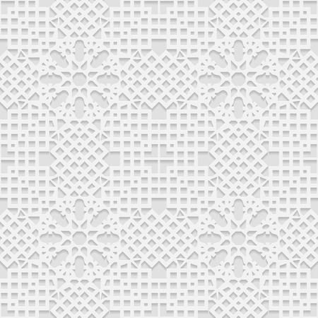 east indian: Seamless white 3D pattern, arabic motif, mandala background, east ornament, indian ornament, vector EPS 10. Endless texture can be used for wallpaper, pattern fills, web page  background,surface textures.