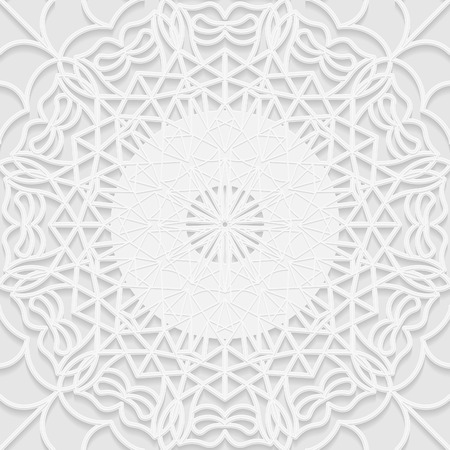 east indian: Seamless white 3D pattern, arabic motif, mandala background, east ornament, indian ornament, vector EPS 10. Illustration