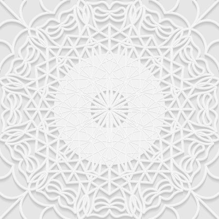 paper punch: Seamless white 3D pattern, arabic motif, mandala background, east ornament, indian ornament, vector EPS 10. Illustration