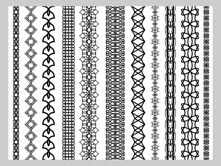 rama: Indian Henna Border decoration elements patterns in black and white colors. Popular ethnic border in one mega pack set collections. Vector illustrations.Could be used as divider, frame, etc